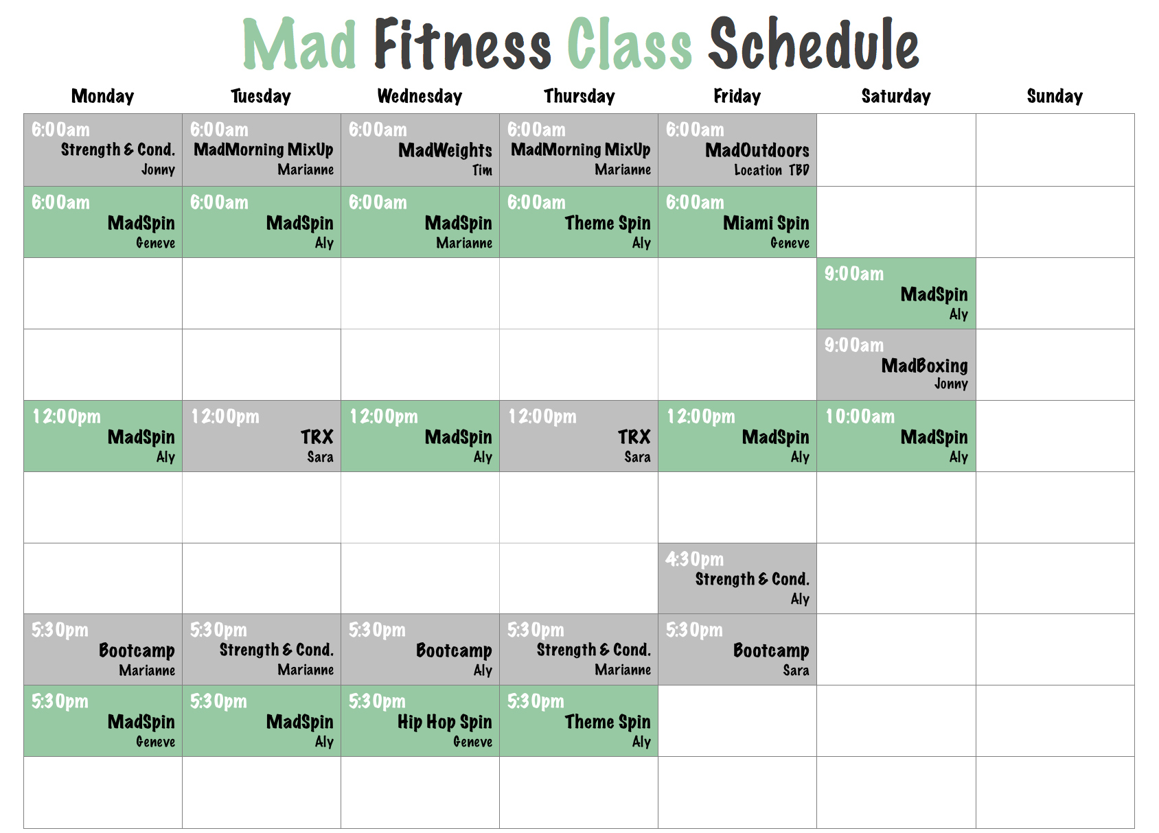 Mad Fitness Class Schedule